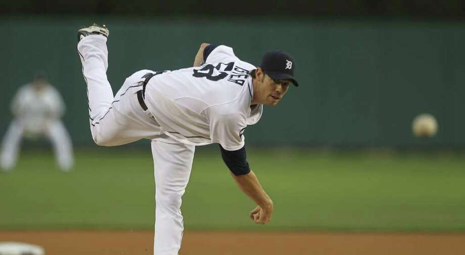 LEON HALIP: GETTY IMAGES EYE OF THE TIGER: Detroit starter Doug Fister struck out nine in eight scoreless innings Monday night to earn a victory over the Indians. Photo: Leon Halip / 2011 Getty Images
