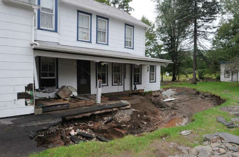 Damaged buildings line Main St. in Prattsville, N.Y. on Sept. 8, 2011. The Schoharie Creek flooded the town after tropical storm Irene.(Lori Van Buren / Times Union) Photo: Lori Van Buren