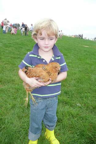 Andrew Oliver holds an exotic Araucana chicken, one of the many animals on display at Go Wild! Photo: Anne W. Semmes