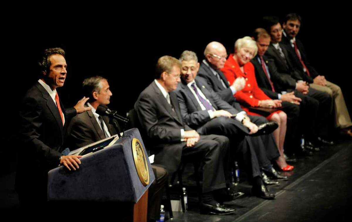 Gov. Andrew Cuomo announced Tuesday morning Sept. 27, 2011, that IBM and the Intel Corporation will place research and development operations at the College of Nanoscale Science and Engineering. The announcement was made during an assembly of business, elected and private sector leaders at the Hart Theatre at the Egg in Albany, N.Y. (Skip Dickstein / Times Union)