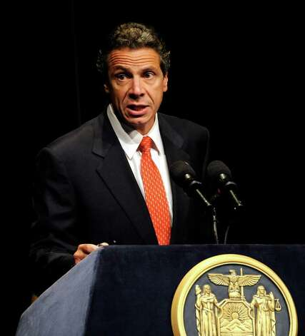 Governor Andrew Cuomo addresses the assembly of business, elected and private sector leaders in the Hart Theatre in Albany, N.Y. as he announced an business initiative encompassing the design and production of a new Nano chips in New York state September 27, 2011.  (Skip Dickstein / Times Union) Photo: SKIP DICKSTEIN / 2011
