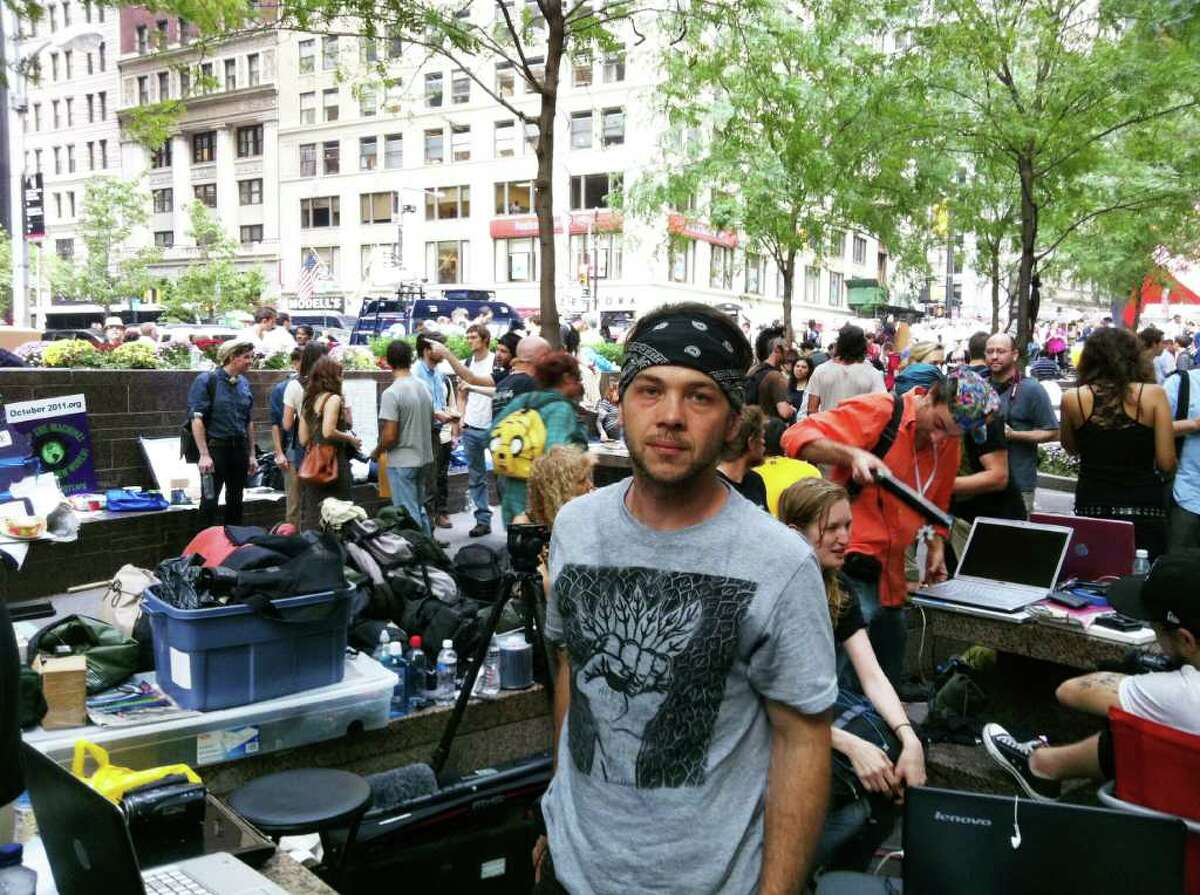 """Thorin Caristo, of Plainfield, Conn, attended the """"Occupy Wall Street"""" protest in New York City."""