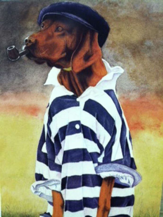 "This painting titled ""Dapper Dog"" was Bender's first commission painting dog portraits. Photo: Contributed Photo"