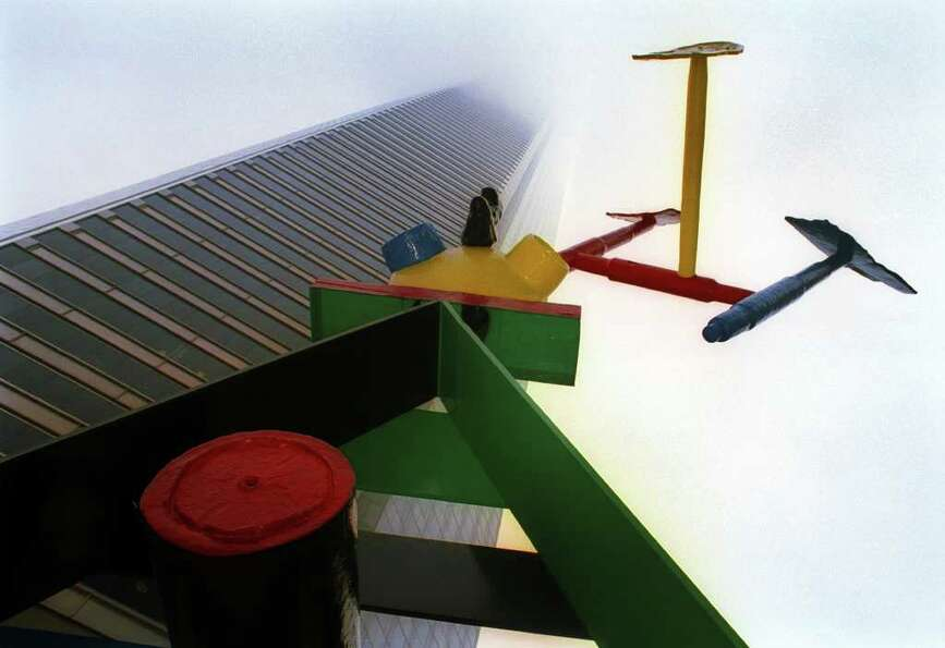 Joan Miro's abstract sculpture, ``Personage with Birds,'' stands outside the Chase Tower. Miro's art