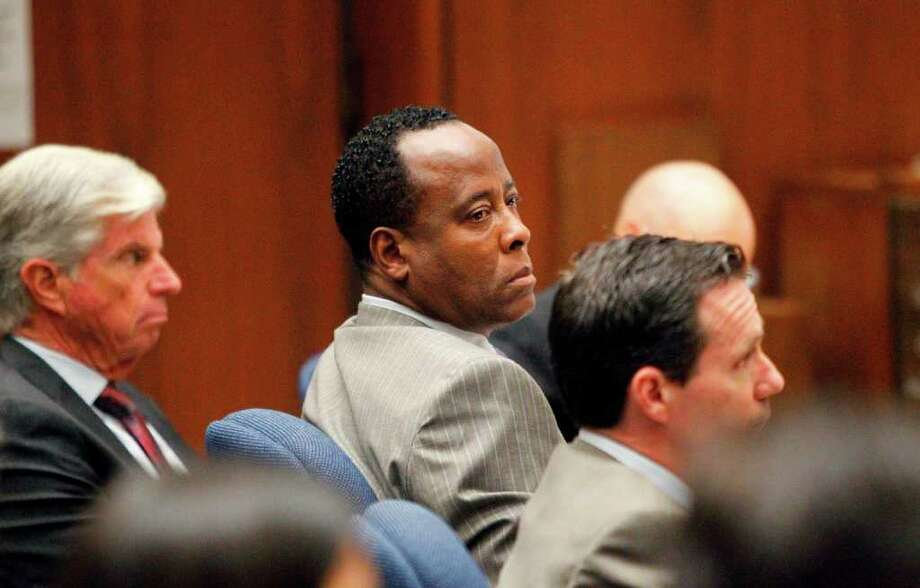 Conrad Murray listens to the prosecution's opening arguments in his involuntary manslaughter trial at  Superior Court, Tuesday, Sept. 27, 2011 in Los Angeles. Photo: Al Seib, Associated Press / Pool, Los Angeles Times