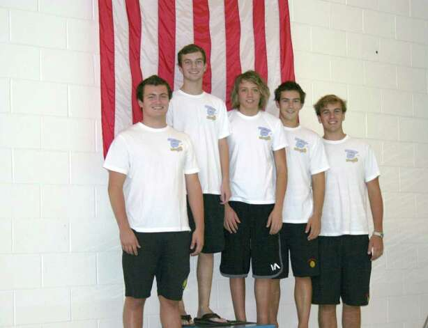 Six Greenwich Water Polo players were recently named Academic All-Americans, including, from left, J Whelan, Matt Alexander, Tim Hardman, James Baker and Simon Tebbe.  Missing from the photo is Austin Bridges. Photo: Contributed Photo
