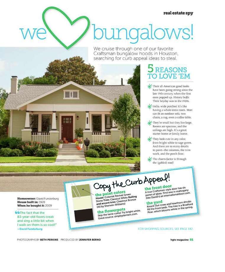 HGTV PHOTOS HOMETOWN CHARM: The first issue of the new HGTV Magazine features a spread about Heights bungalows. Photo: HGTV Magazine