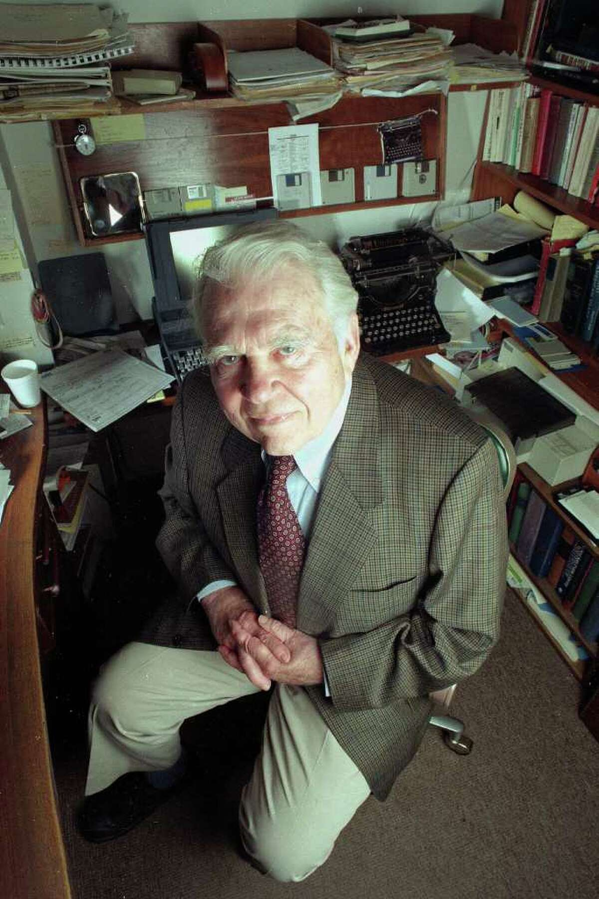 In this June 19, 1998, file photo, commentator Andy Rooney, of CBS-TV's