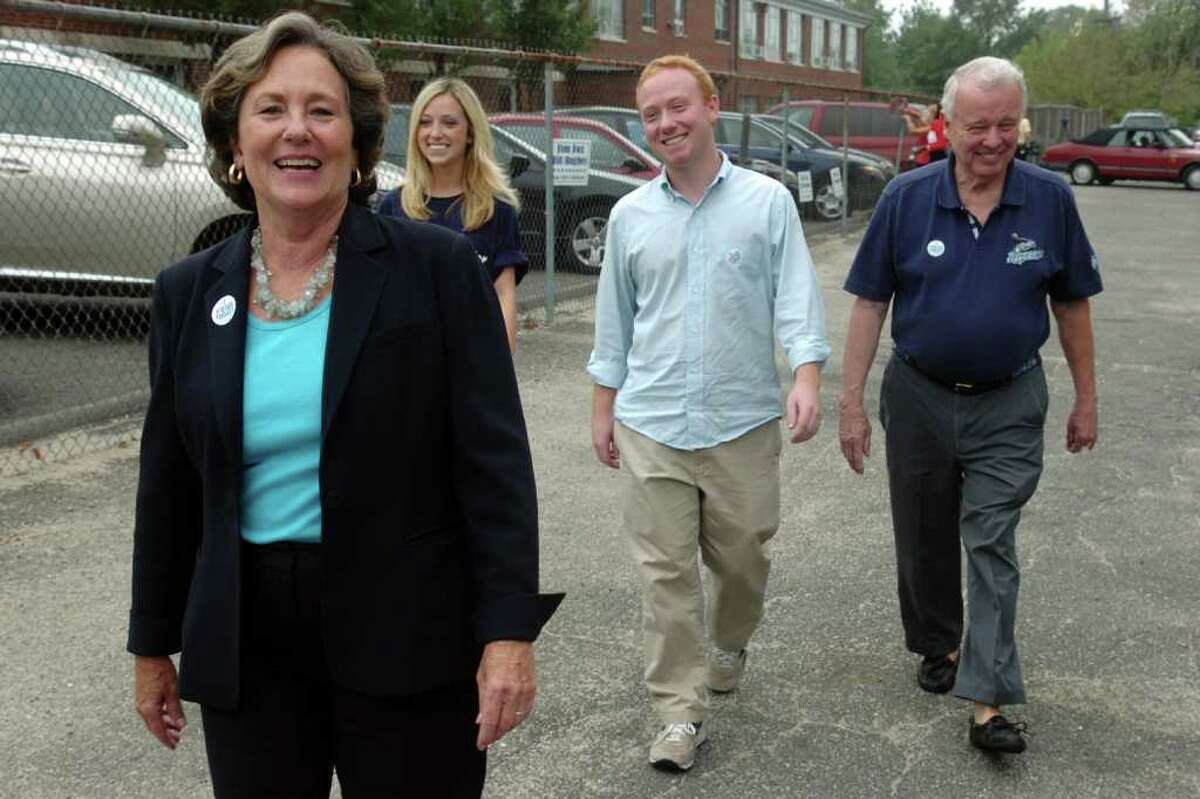 Mayoral candidate Mary-Jane Foster outside of Black Rock School in Bridgeport, Conn. Sept. 27th, 2011, where she voted in the democratic primary. Foster is joined here by here husband, Jack McGregor, daughter Margaret Warner, and son DeVer Warner.