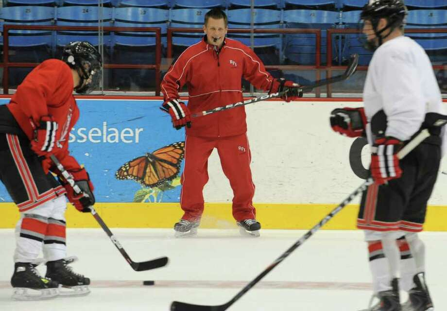 RPI hockey head coach Seth Appert during a practice before media day at RPI in Troy, N.Y. Tuesday, Sept. 27, 2011. (Lori Van Buren / Times Union) Photo: Lori Van Buren