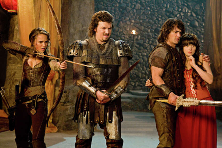 "(L-R) Natalie Portman as Isabel, Danny McBride as Thadeous, James Franco as Fabious and Zooey Deschanel as Belladonna in ""Your Highness."""