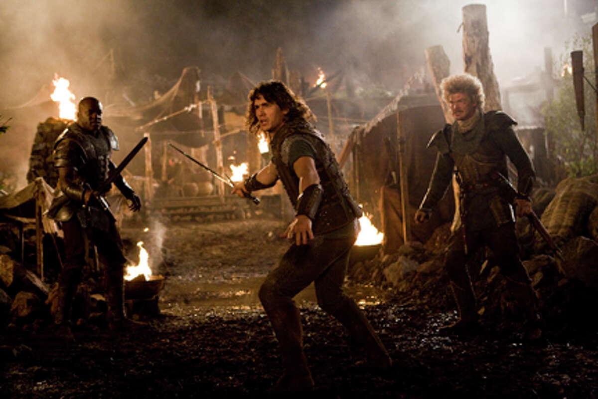(L-R) Deobia Oparei as Thundarian, James Franco as Fabious and Simon Farnaby as Manious the Bold in