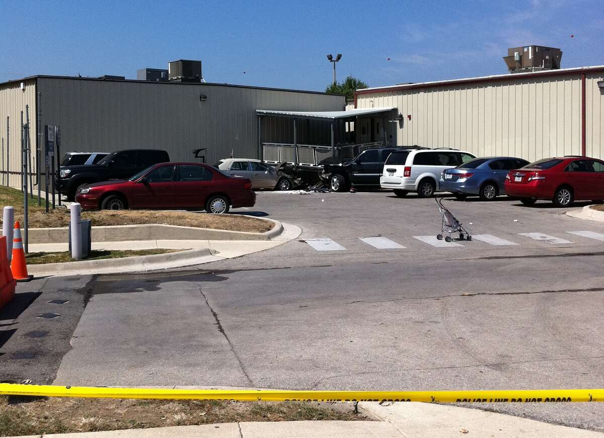 Blood stains remain where a 17-month-old child was struck at the parking lot of San Antonio Military Medical Center.