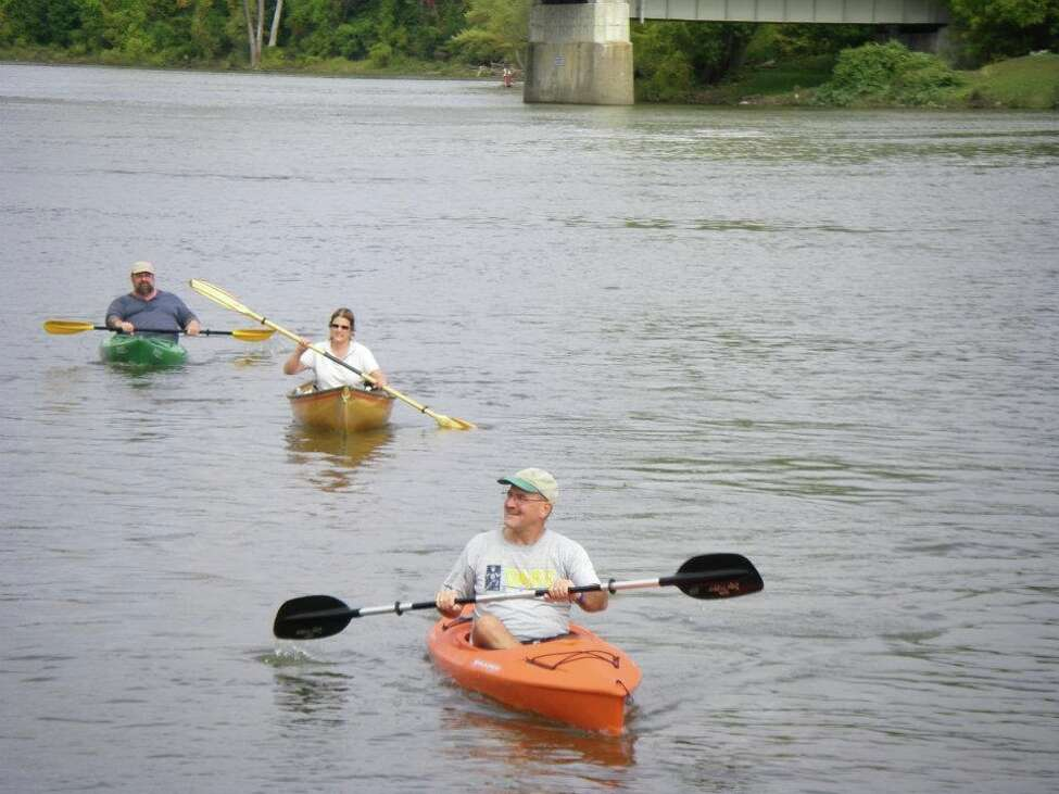Mark Well of Mechancville, in lead kayak, paddles on Hudson River Saturday Sept. 24, 2011, to raise awareness about peritoneal mesothelioma. His daughter Linda, 25, has had the rare form of cancer since she was 16. (Provided photo)