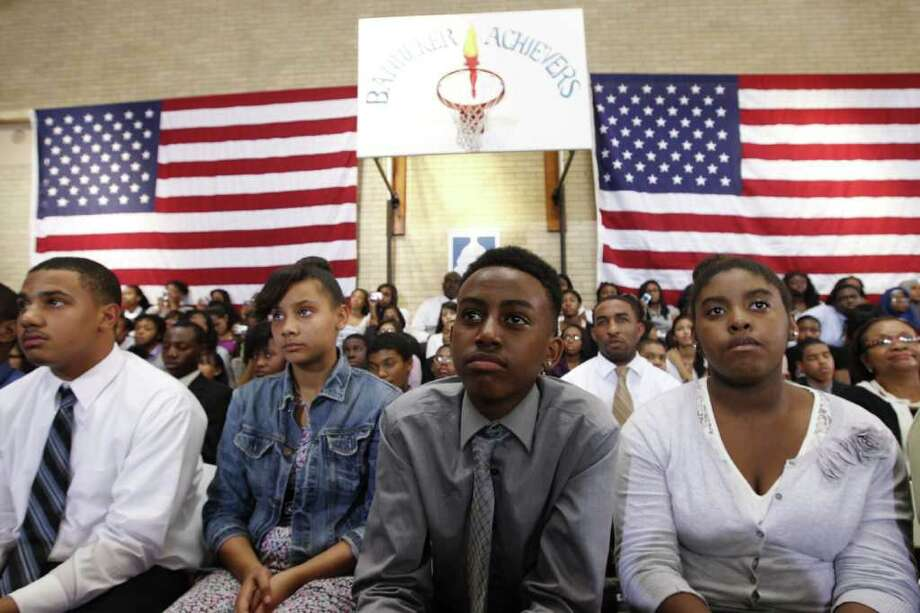 Students listen as President Barack Obama delivers his third annual back-to-school speech at Benjamin Banneker Academic High School in Washington, Wednesday, Sept. 28, 2011. Photo: Charles Dharapak, Associated Press / AP