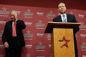 Jim Crane speaks from the podium after Astros owner Drayton McLane announced the purchase agreement with a group headed by Houstonian Jim Crane,Monday, May 16, 2011, in Houston.The sale of the ball club will be finalized once it is approved by Major League Baseball.