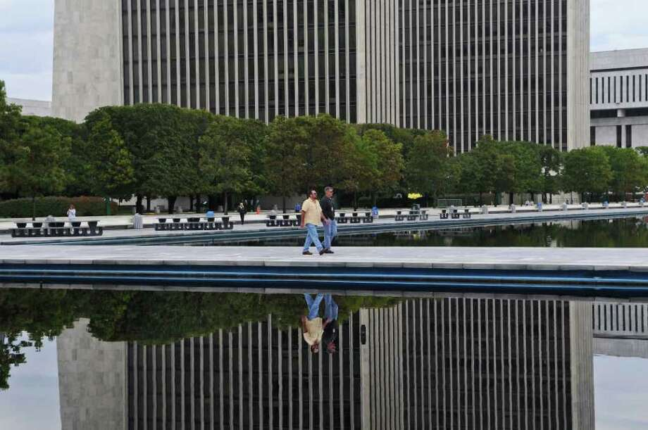View of the Empire State Plaza on Wednesday Sept. 28, 2011 in Albany, NY.  The Public Employees Federation voted down a contract proposal with the state, and face layoffs. ( Philip Kamrass / Times Union) Photo: Philip Kamrass / 00014798A