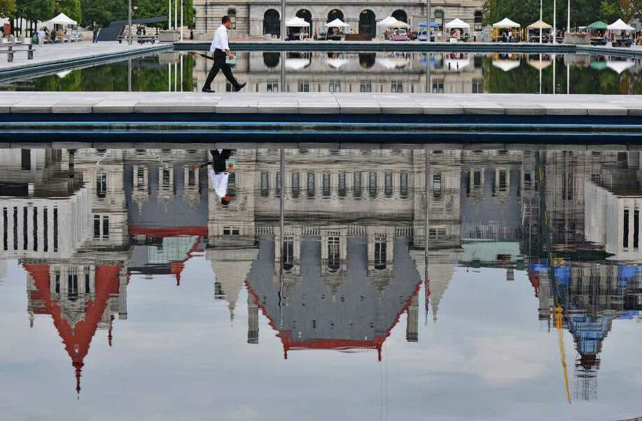 View of the Capitol as seen from the Empire State Plaza on Wednesday Sept. 28, 2011 in Albany, NY.  The Public Employees Federation voted down a contract proposal with the state, and face layoffs. ( Philip Kamrass / Times Union) Photo: Philip Kamrass / 00014798A