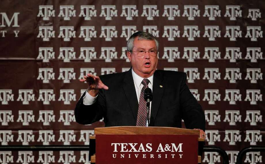 COLLEGE STATION, TX - SEPTEMBER 26:  Athletic director Bill Byrne of the Texas A&M Aggies speaks prior to a press conference for Texas A&M accepting an invitation to join the Southeastern Conference on September 26, 2011 in College Station, Texas. Photo: Aaron M. Sprecher, Getty / 2011 Getty Images