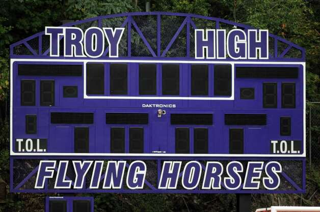 View of the new scoreboard at Troy High School's football field, seen during practice on Wednesday Sept. 28, 2011 in Troy, NY.  ( Philip Kamrass / Times Union) Photo: Philip Kamrass / 00014782A