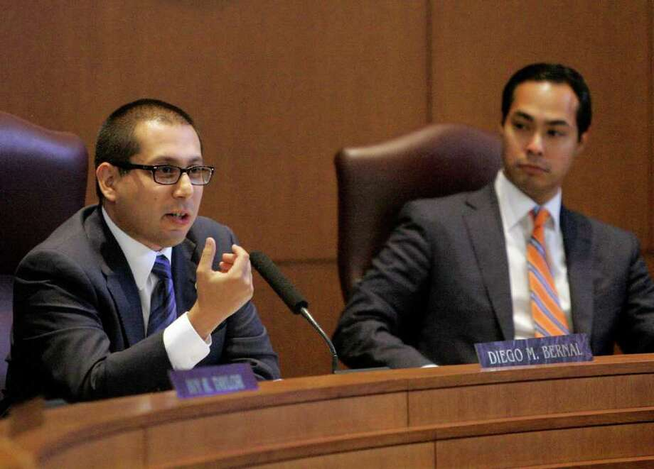 City Council member Diego Bernal (left), Mayor Julián Castro and the rest of the City Council will vote Thursday on a package of noncash incentives for developers to create more downtown-area housing. Photo: File Photo, San Antonio Express-News