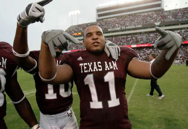 Texas A&M's Jorvorskie Lane celebrates the Aggies' 47-45 win Saturday afternoon Sept. 8, 2007 at Kyle Field in College Station over the Fresno State Bulldogs in three overtimes. Photo: WILLIAM LUTHER, SAN ANTONIO EXPRESS-NEWS / SAN ANTONIO EXPRESS-NEWS