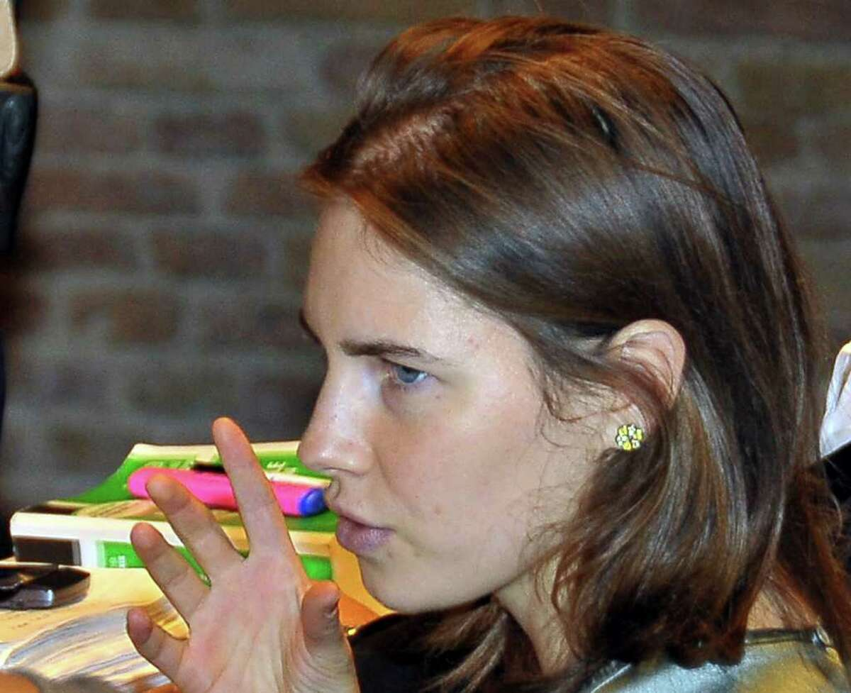 Amanda Knox looks on during an appeal trial at the Perugia court, Italy, central Italy, on Thursday.
