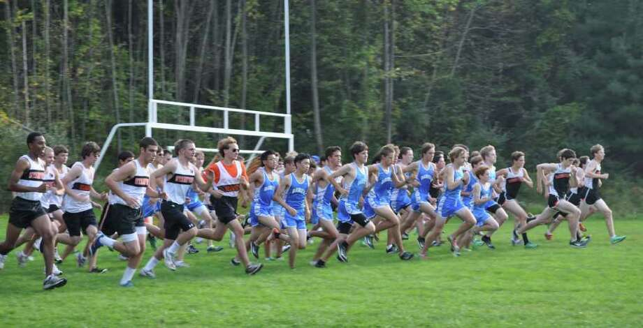 The Darien High School boys cross country team continued its undefeated season, logging three more lopsided victories in its quad meet on Tuesday at St. Joseph High School in Trumbull. The Blue Wave defeated St. Joseph, Ridgefield and Stamford to improve to 8-0. Photo: Contributed Photo