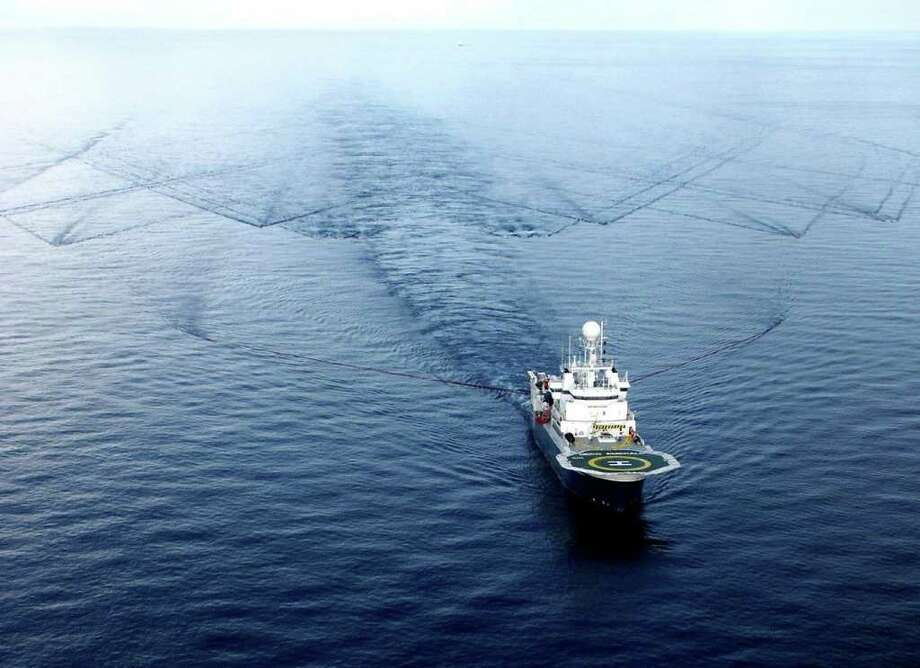 The E-Source air gun, in use aboard a ship, is a bandwidth-controlled source of acoustic waves designed to reduce the potential impact of seismic signals on marine life. Photo: Contributed Photo