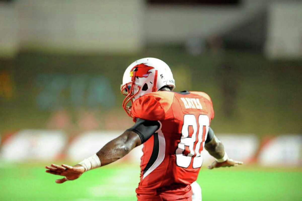 Cardinals wide receiver J.J. Hayes reacts after scoring in the first half against Incarnate Word at Provost Umphrey Stadium Saturday, September 17, 2011. Valentino Mauricio/The Enterprise