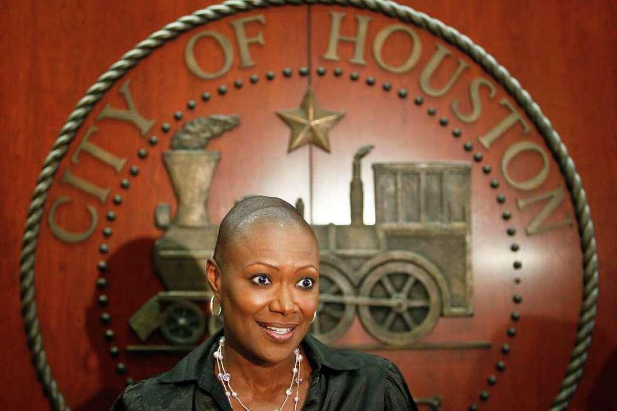 MICHAEL PAULSEN : CHRONICLE EXONERATED: Councilwoman Jolanda Jones speaks on the panel's findings at the City Hall Annex on Thursday.