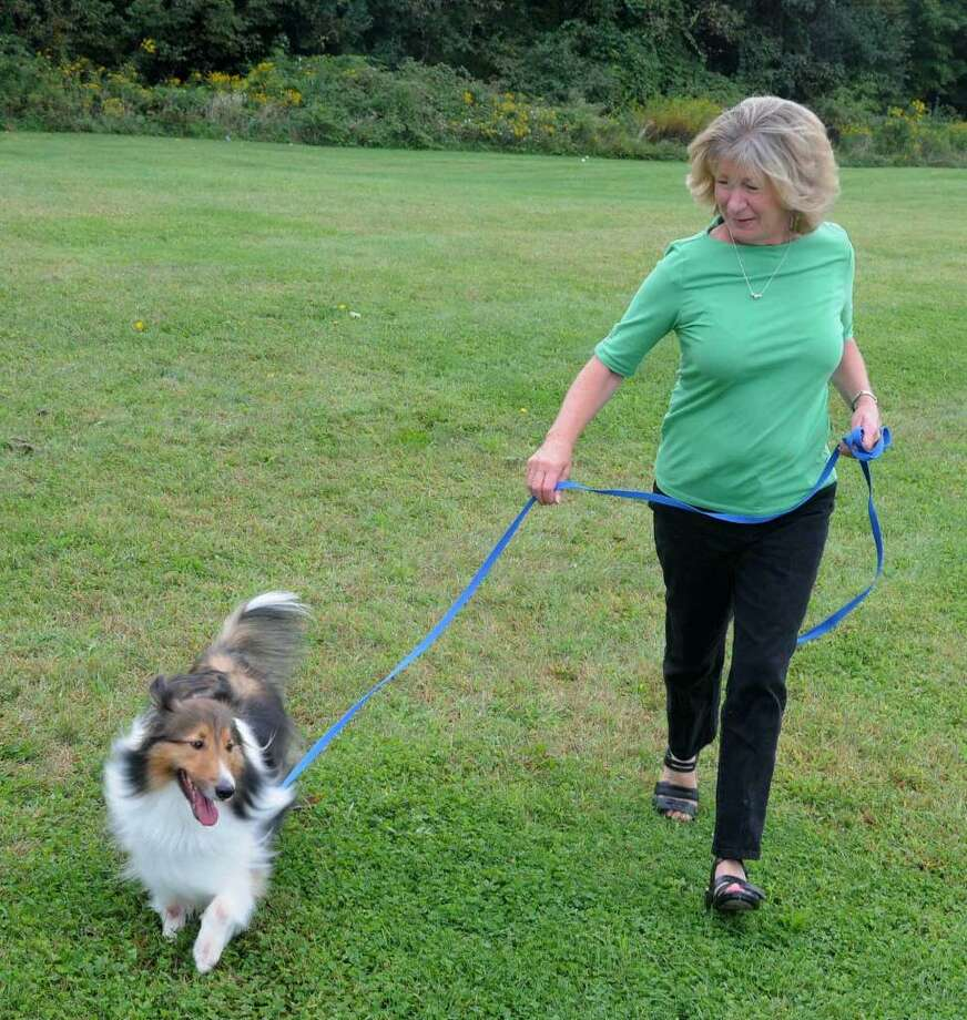 The New Fairfield Dog Owners Group has been working hard for over a year to build a dog park in New Fairfield. The group just received a grant for fences for the park from Petco. Sue Garufi of New fairfield, the founder of the group, walks her dog Harrison on the proposed sight on Thursday Sept. 17, 2009 Photo: Lisa Weir / The News-Times