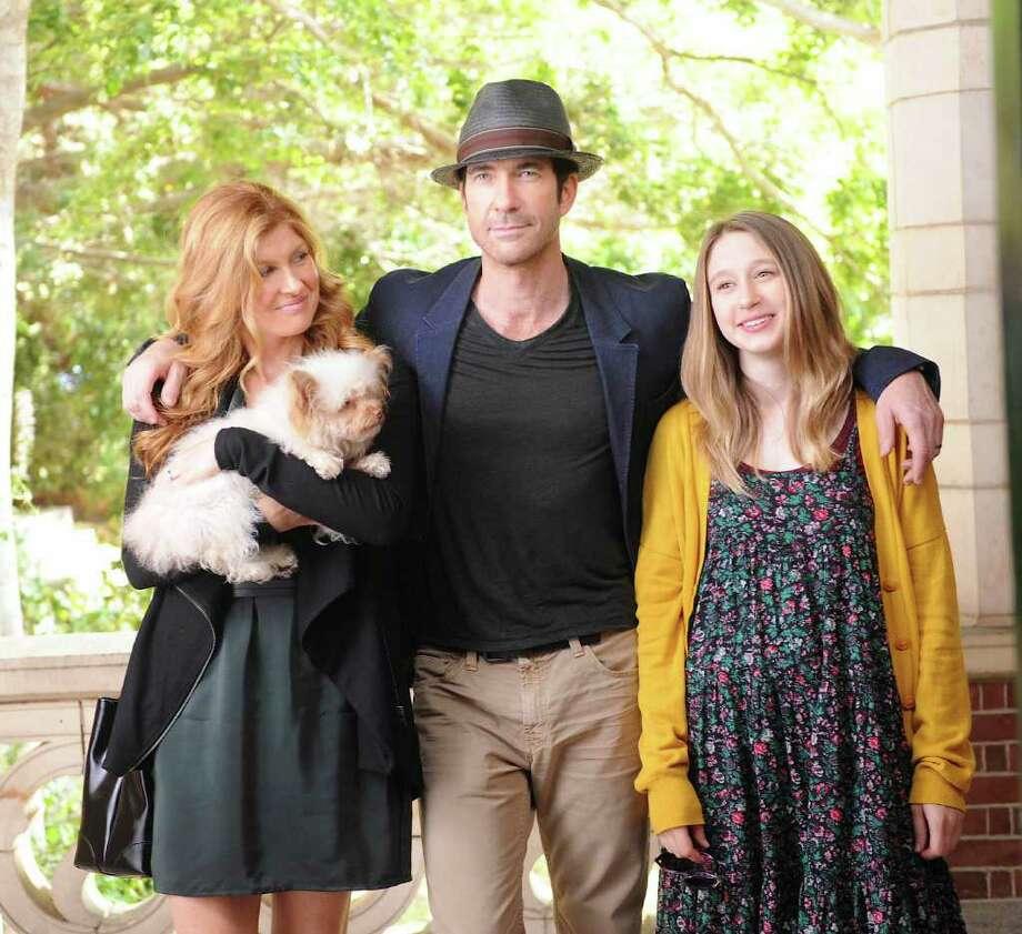 L-R: Connie Britton as Vivien Harmon, Dylan McDermott as Ben Harmon, Taissa Farmiga as Violet Harmon in AMERICAN HORROR STORY airing on FX. Photo: Robert Zuckerman.