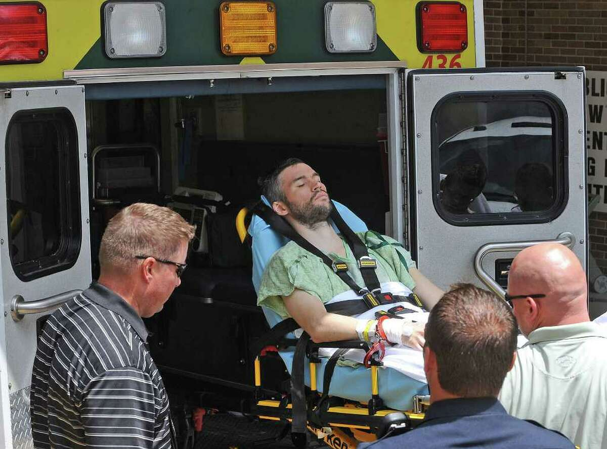 After being released from Christus St. Elizabeth Hospital Monday afternoon, John Wesley Nero was transported to the County Jail. Nero is said to be the driver of the car that killed Beaumont Police Officer Bryan Hebert on July 8. Guiseppe Barranco/The Enterprise