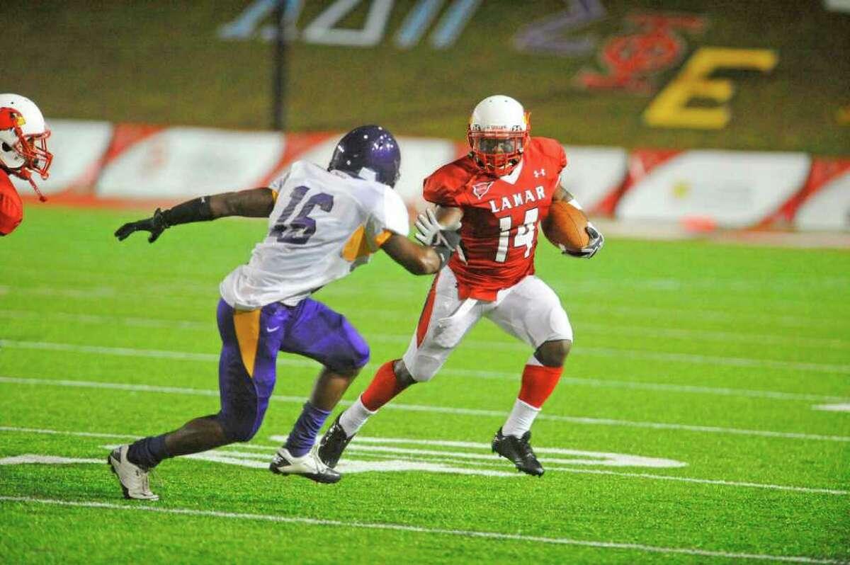 Lamar running back DePauldrick Garrett rushes in the first half against Texas College at Provost Umphrey Stadium on Saturday, September 3, 2011. Valentino Mauricio/The Enterprise