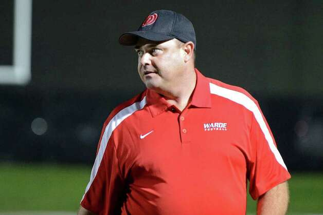 Warde coach Duncan Dellavolpe watches from the sidelines as New Canaan High School hosts Fairfield Warde High School in varsity football action in New Canaan, CT on Friday, September 30, 2011. Photo: Shelley Cryan / Shelley Cryan freelance; Stamford Advocate freelance
