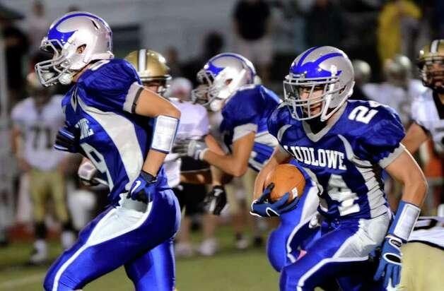 Fairfield Ludlowe's Daniel Silvestri carries the ball during the football game against Trumbull at Fairfield Ludlowe High School on Friday, Sept. 30, 2011. Photo: Amy Mortensen / Connecticut Post Freelance