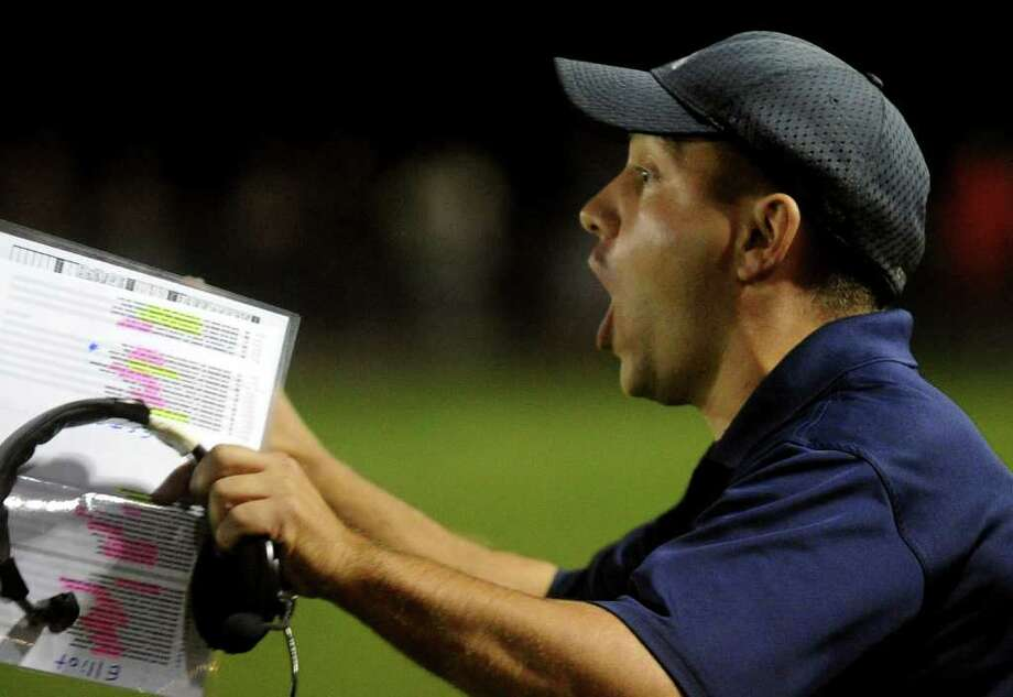 Highlights from boys football action between Derby and Ansonia in Derby, Conn. on Friday September 30, 2011. Ansonia's Head CoachThomas Brockett. Photo: Christian Abraham / Connecticut Post