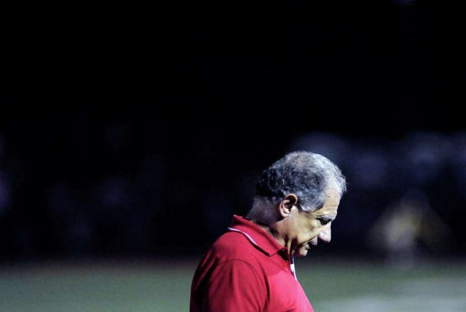 Greenwich High School head football coach Rich Albonizio during 51-33 loss to New London High School at Greenwich, Friday night, Sept. 30, 2011. Photo: Bob Luckey / Greenwich Time