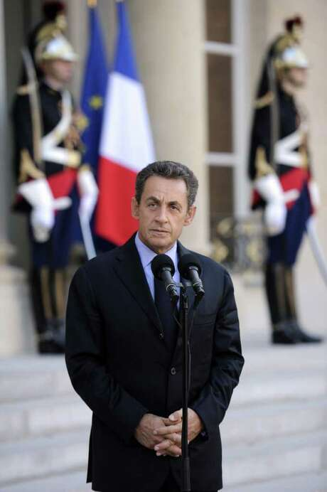French President Nicolas Sarkozy gives a speech after a working meeting with Greek Prime minister George Papandreou at the Elysee palace on Septembre 30, 2011 in Paris. AFP PHOTO ERIC FEFERBERG (Photo credit should read ERIC FEFERBERG/AFP/Getty Images) Photo: ERIC FEFERBERG / AFP