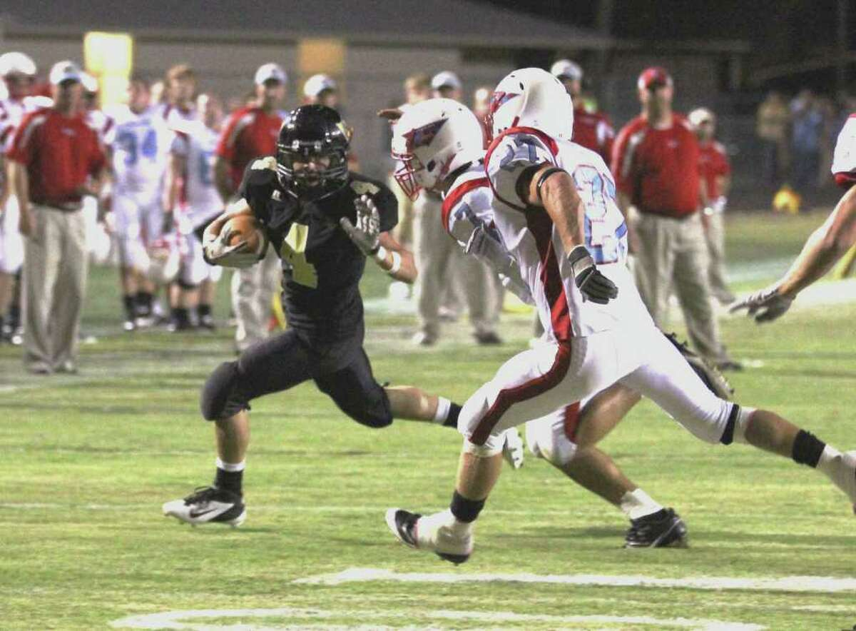 Vidor tailback Jeremy Stephenson breaks a long run to set up the first score Friday night as the Pirates hosted the Lumberton Raiders. Photo submitted by Kevin Daigle.