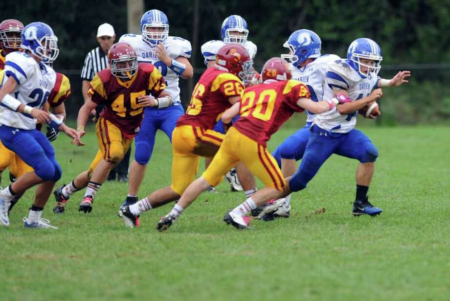 St. Joseph High School football vs. Darien High School Saturday, Oct. 1, 2011 at the St. Joseph campus in Trumbull, Conn. Photo: Autumn Driscoll