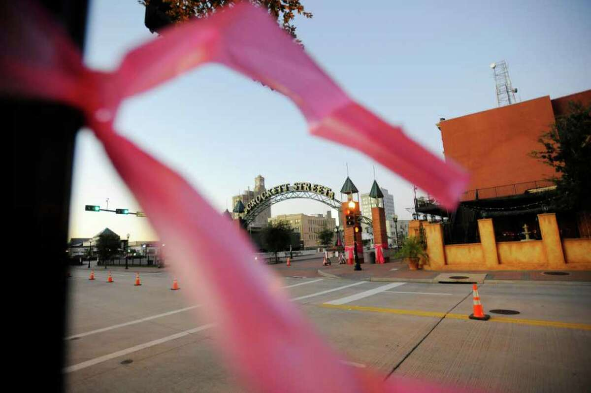 Main Street in downtown Beaumont was tied up in pink for the Julie Rogers
