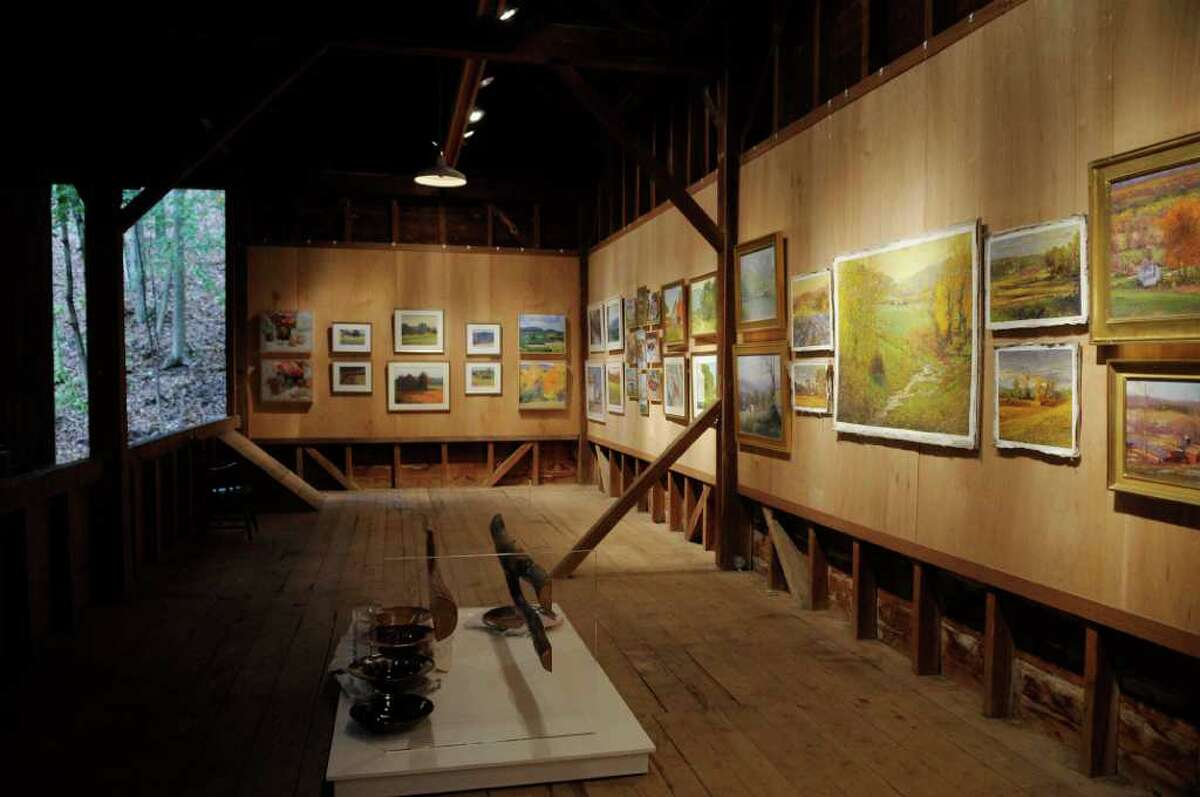 A view of the gallery upstairs in the barn at Maple Ridge in Coila, NY on Wednesday, Oct. 6, 2010. (Paul Buckowski / Times Union)