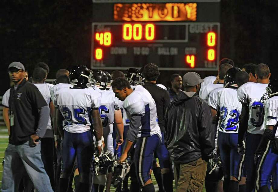 Albany High School's losing score is shown on a scoreboard after a game against Shenendehowa in Clifton Park, N.Y. Friday, Sept. 23, 2011. (Lori Van Buren / Times Union) Photo: Lori Van Buren
