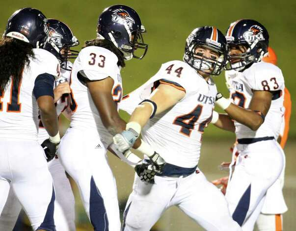 UTSA's Steven Kurfehs (44) celebrates a teckle with teammates during the second half of their game against Sam Houston, Saturday, October 1, 2011 at Bowers Stadium in Huntsville, TX. Photo: Eric Christian Smith, For The San Antonio Express-News