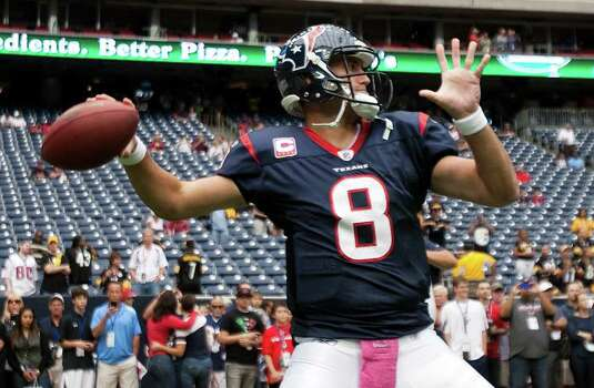 Houston Texans quarterback Matt Schaub (8) throws a warm-up pass before an NFL football game against the Pittsburgh Steelers at Reliant Stadium on Sunday, Oct. 2, 2011, in Houston. Photo: Brett Coomer, Houston Chronicle / © 2011  Houston Chronicle