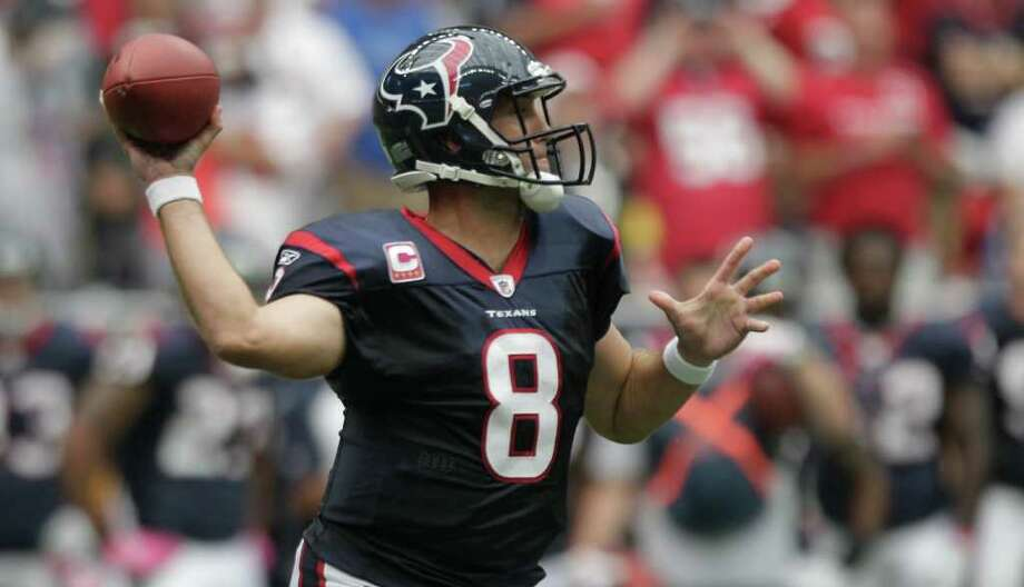 Houston Texans quarterback Matt Schaub (8) gets off a pass against the Pittsburgh Steelers during the first quarter of an NFL football game at Reliant Stadium on Sunday, Oct. 2, 2011, in Houston. Photo: Brett Coomer, Houston Chronicle / © 2011  Houston Chronicle