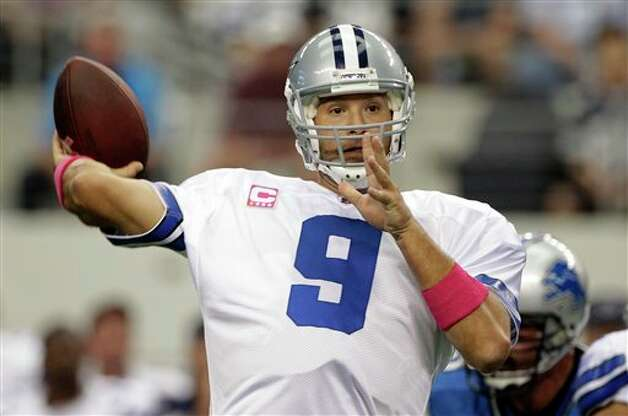 Dallas Cowboys quarterback Tony Romo passes the ball against the Detroit Lions during the first quarter of an NFL football game, Sunday, Oct. 2, 2011, in Arlington, Texas. (AP Photo/Tony Gutierrez) Photo: Tony Gutierrez, Associated Press / AP