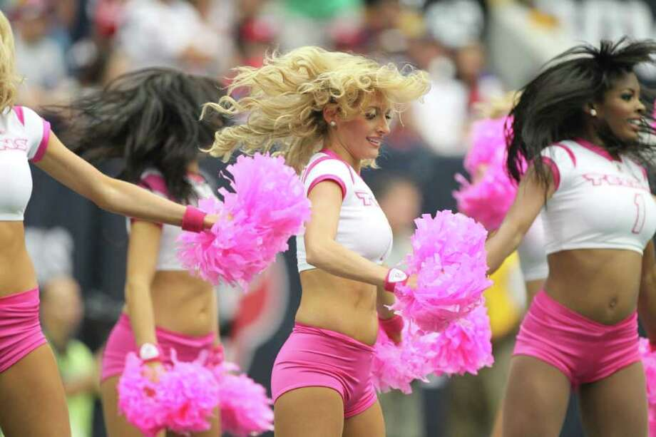 Houston Texans cheerleaders perform during the second quarter of a NFL football game against the Pittsburgh Steelers at Reliant Stadium on Sunday, Oct. 2, 2011, in Houston. Photo: Nick De La Torre, Houston Chronicle / © 2011  Houston Chronicle